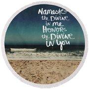Namaste Waves  Round Beach Towel