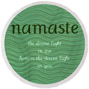Namaste With Blue Waves Round Beach Towel