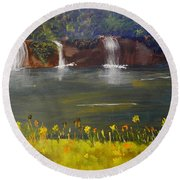 Nandroy Falls In Queensland Round Beach Towel