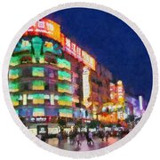 Nanjing Road In Shanghai Round Beach Towel