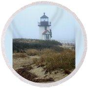 Nantucket Brant Point Light Round Beach Towel