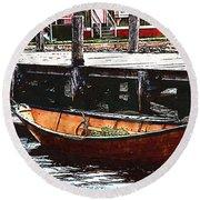 Nantucket Sleigh Ride Whaleboat Round Beach Towel