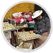 Nap Time For Child And Street Shopkeeper In Lhasa-tibet   Round Beach Towel