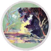Napa Valley Forest Fall Round Beach Towel