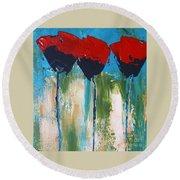 Napa Valley Red Poppys Round Beach Towel