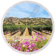 Napa Valley Vineyard With Cosmos Round Beach Towel