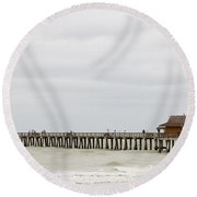 Naples Fishing Pier Round Beach Towel