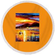 Naples-sunset Above Vesuvius - Palette Knife Oil Painting On Canvas By Leonid Afremov Round Beach Towel