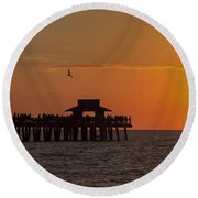 Naples Sunset Round Beach Towel