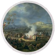 Napoleon 1769-1821 Visiting A Bivouac On The Eve Of The Battle Of Austerlitz, 1st December 1805 Round Beach Towel