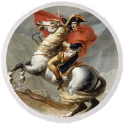 Napoleon Bonaparte On Horseback Round Beach Towel by War Is Hell Store