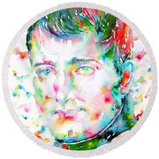 Napoleon Bonaparte - Watercolor Portrait Round Beach Towel