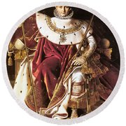 Napoleon I On His Imperial Throne Round Beach Towel
