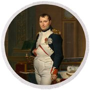 Emperor Napoleon In His Study At The Tuileries Round Beach Towel