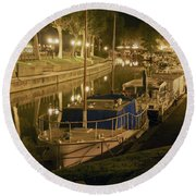 Narbonne France Canal De La Robine At Night Dsc01657  Round Beach Towel