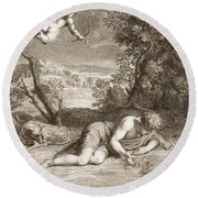 Narcissus Transformed Into A Flower Round Beach Towel