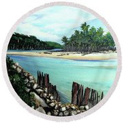 Nariva River And Cocos Bay Round Beach Towel