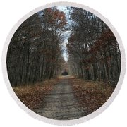 Narrow Path On Recovery Road Round Beach Towel