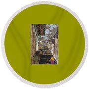 Narrow Street Round Beach Towel