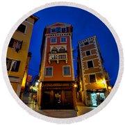 Narrow Streets And Buildings - Rovinj Croatia Round Beach Towel