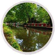 Narrowboats Moored On The Wey Navigation In Surrey Round Beach Towel