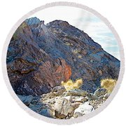 Narrowing Of Trail In Big Painted Canyon Trail In Mecca Hills-ca Round Beach Towel