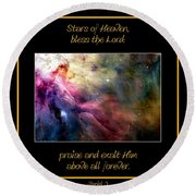 Nasa Ll Ori And The Orion Nebula Stars Of Heaven Bless The Lord Round Beach Towel