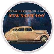 Nash 400 - Vintage Car Poster Round Beach Towel