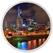 Nashville Is A Colorful Town Round Beach Towel