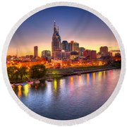 Nashville Skyline Round Beach Towel by Brett Engle