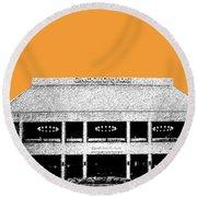 Nashville Skyline Grand Ole Opry - Orange Round Beach Towel