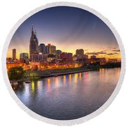 Nashville Skyline Panorama Round Beach Towel