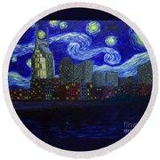 Dedication To Van Gogh Nashville Starry Nights Round Beach Towel