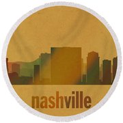 Nashville Tennessee Skyline Watercolor On Parchment Round Beach Towel
