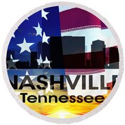 Nashville Tn Patriotic Large Cityscape Round Beach Towel by Angelina Vick