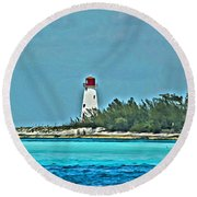 Nassau Bahama Lighthouse Round Beach Towel