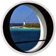 Nassau Lighthouse Porthole View Round Beach Towel