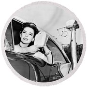 Natalie Wood At A Drive-in Round Beach Towel