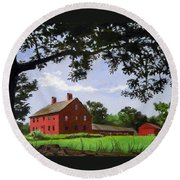 Nathan Hale Homestead Coventry Connecticut Round Beach Towel