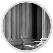 National Archives Columns Round Beach Towel by Inge Johnsson