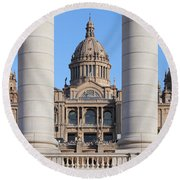 National Art Museum Of Catalonia In Barcelona Round Beach Towel