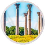 National Capitol Columns Round Beach Towel