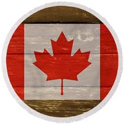 Canada National Flag On Wood Round Beach Towel