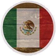 Mexico National Flag On Wood Round Beach Towel