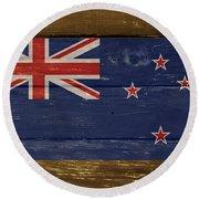 New Zealand National Flag On Wood Round Beach Towel