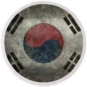 National Flag Of South Korea Desaturated Vintage Version Round Beach Towel