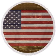 United States Of America National Flag On Wood Round Beach Towel