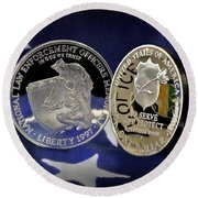 National Law Enforcement Memorial Mint Round Beach Towel by Gary Yost