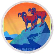National Parks Wild Life Poster Round Beach Towel