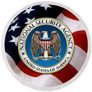 National Security Agency - N S A Emblem Emblem Over American Flag Round Beach Towel